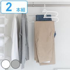 ハンガー ズボン モノクローゼット スラックスハンガー 2本組 白 ( 衣類ハンガー セット 衣類収納 衣類 収納 ボトムス スラックス レデ