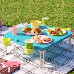 ピクニックテーブル 折りたたみ ドリンクホルダー レジャーテーブル 角型 アウトドア ( テーブル 折りたたみテーブル 簡易テーブル バタ