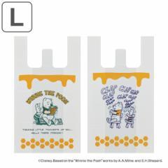 レジ袋 くまのプーさん 持ち手付き袋 L 53x30cm マチあり ( ポリ袋 手提げ 買い物袋 10枚入り マチ 白 柄 キャラクター ディズニー プー