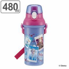 水筒 プラスチック 直飲み アナと雪の女王 ワンタッチボトル 480ml 軽量 子供 ( 幼稚園 保育園 アナ雪 食洗機対応 子供用水筒 ダイレク