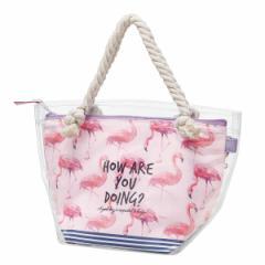 保冷バッグ 3way 透明ランチバッグ 保冷ポーチ付 フラミンゴ 子供 ( ランチバッグ 保冷 お弁当袋 トートバッグ ランチトート クリアバッ