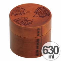 お弁当箱 わっぱ弁当 リサ・ラーソン ハリネズミ 630ml 木製 曲げわっぱ 丸型 2段 キャラクター ( 和風 天然木 2段弁当箱 ラン
