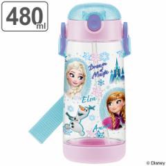 水筒 ストローホッパー ワンプッシュボトル アナと雪の女王 子供 プラスチック製 480ml ( 軽量 プラスチック ストロー 子供用水筒 ダイ