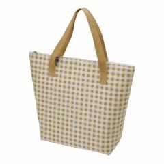 保冷トートバッグ チェック ブラウン 保冷バッグ チャック付 ( トートバッグ 保冷トート 買い物袋 クーラーバッグ 買い物バッグ )