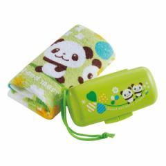 おしぼりセット るんるんパンダ クローバー おしぼり ケース ( パンダ お手拭き タオル ハンカチ 手拭き おてふき 子供 おしぼりタオル