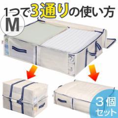 収納袋 M 幅70×奥行50×高さ18cm 空間の匠 衣類 衣類収納袋 透明窓付き 3個セット ( 衣類収納 収納 衣類ケース クローゼット収