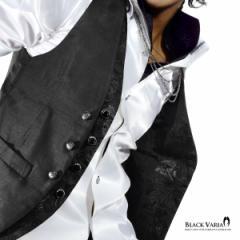 BlackVaria ジレ ベスト 薔薇柄 フェイクレイヤードジレ フォーマル スリムフィット パーティー 結婚式 メンズ 日本製(ブラック黒×ブラ