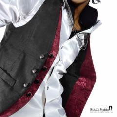 BlackVaria ジレ ベスト 薔薇柄 フェイクレイヤードジレ フォーマル スリムフィット パーティー 結婚式 メンズ 日本製(ブラック黒×ワイ