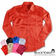サテンシャツ ドレスシャツ 無地 光沢 衣装 ホスト 長袖シャツ メンズ 日本製(ハイレッド赤) 141405