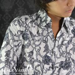 シャツチェーン柄ジャガード長袖スキッパー(ホワイト) 935011/スカーフ柄薔薇スタンドカラーシャツ結婚式ドレスパーティー