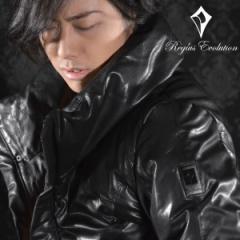 ジャケット本革レザーボリュームネックダウンジャケット(ブラック) 55505/レザーハイネックダウンブルゾン