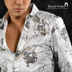 シャツ和柄雷神柄レギュラーカラーアロハ長袖シャツメンズ(ホワイト) 935037/和柄雷神柄レギュラーカラー長袖シャツ