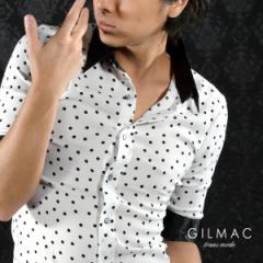 [Sサイズのみ] シャツクレリックドット柄5分袖水玉レギュラーカラーシャツメンズ(ホワイト) 35450/ドット柄クレリックシャツサテン五分