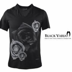 Tシャツ 半袖 薔薇バラ花柄Vネック(ブラック黒) zkk012/バラ柄モードVネックカットソー