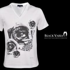 Tシャツ 半袖 薔薇バラ花柄Vネック(ホワイト白) zkk012/バラ柄モードVネックカットソー