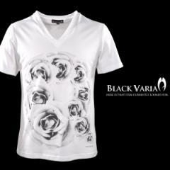 Tシャツ 半袖 薔薇バラ花柄フォトプリントVネック(ホワイト白) zkk013/バラ柄モードVネックカットソー