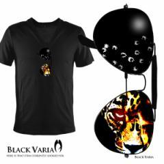 Tシャツ 半袖 サングラスプリントヒョウ豹柄Vネック(ブラック黒) zkk018/サングラスプリントだまし絵VネックT