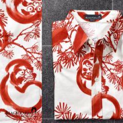 シャツ和柄アロハ松だるまダルマ柄長袖シャツ(ホワイトレッド) 935084/総柄和柄レギュラーカラー日本製メンズシャツ