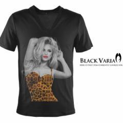 Tシャツ 半袖 セクシーガールヒョウ柄唇Vネック(ブラック黒) zkk024