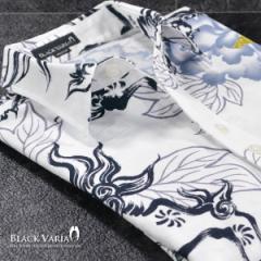 シャツ 和柄 獅子 花 レギュラーカラー アロハ 長袖シャツ 日本製(ホワイト白ネイビー紺) 935125