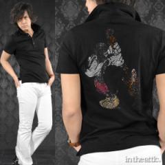 ポロシャツ ミッキーマウス ギター ラインストーン キャラクター 半袖ポロ(ブラック黒) 1629106