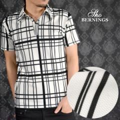 ポロシャツ ランダムチェック柄 半袖 メンズ ポロシャツ(ホワイト白ブラック黒) 309922
