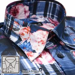 ドレスシャツ 長袖 ドゥエボットーニ メンズ レギュラーカラー チェック柄 薔薇柄 シャンタン 日本製(ブルー青ピンク桃) 161914