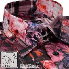ドレスシャツ 長袖 ドゥエボットーニ メンズ レギュラーカラー チェック柄 薔薇柄 シャンタン 日本製(レッド赤ピンク桃) 161914