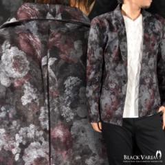 カットジャケット 花柄 薔薇 バラ テーラード 1釦  ジャケット(グレー灰レッド赤) 162951