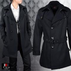 トレンチコート シングル ウール メルトン ビジネス ロング メンズ 無地 日本製 スリム ロングコート(ブラック黒) 938112