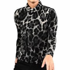 タートル ヒョウ 豹柄 ニット メンズ 日本製 ハイネック 長袖 タートルネック(グレー灰ブラック黒) 163915