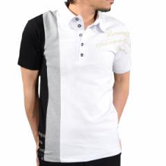 ポロシャツ 半袖 カノコ スキッパー 切替 刺繍 英字 GD8 グラディエイト GLADIATE メンズ(ホワイト白ブラック) 462845
