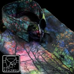サテンシャツ ドレスシャツ 長袖 ムラ柄 ボタニカル柄 ドゥエボットーニ メンズ スナップダウン 光沢(ブルー青グリーン緑) 171315