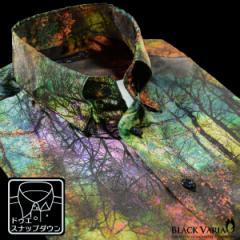 サテンシャツ ドレスシャツ 長袖 ムラ柄 ボタニカル柄 ドゥエボットーニ メンズ スナップダウン 光沢(グリーン緑ブラウン茶) 171315