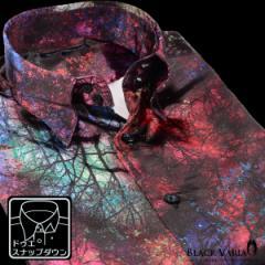 サテンシャツ ドレスシャツ 長袖 ムラ柄 ボタニカル柄 ドゥエボットーニ メンズ スナップダウン 光沢(レッド赤ピンク桃) 171315