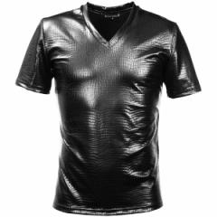 Tシャツ 半袖 クロコダイル メンズ Vネック 光沢 メタリック 日本製(ブラック黒) 173308