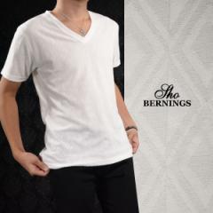 Tシャツ 半袖 ダイヤ柄 幾何学模様 ジャガード メンズ Vネック 無地 シンプル 半袖Tシャツ(ホワイト白) 320432