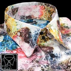 サテンシャツ ドレスシャツ 長袖 幾何学柄 レギュラーカラー ドゥエボットーニ 日本製 ジャガード(ホワイト白レッド赤) 171316