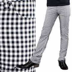 パンツ ギンガムチェック ストレート メンズ 日本製 ストレッチ スリム チェック ボトムス(ホワイト白ブラック黒) 933715
