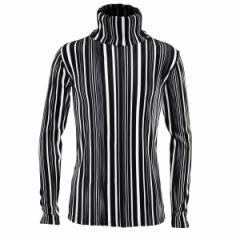 タートル アコーディオンプリーツ ランダムストライプ メンズ ピンタック 日本製 長袖 スリム ハイネック(ブラック黒ホワイト白) 173314