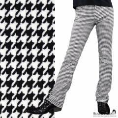 パンツ 千鳥柄 シューカット 日本製 メンズ スリム ストレッチ ブーツカット ボトムス(ホワイト白ブラック黒) 923948