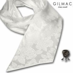 ストール 薔薇柄 ローズ メンズ サテン ジャガード リング付き 結婚式 パーティー(ホワイト白) k7802