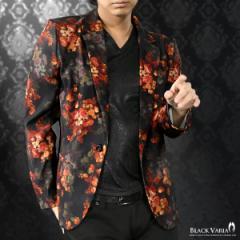 カットジャケット 花柄 薔薇 メンズ 日本製 1釦 ストレッチ 長袖 シングル ジャケット(ブラック黒レッド赤) 172750