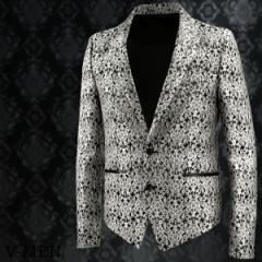 テーラードジャケット アラベスク柄 メンズ 銀糸 光沢 2つボタン シングル ピークドラペル(シルバー銀ブラック黒) 999020