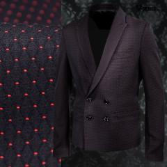 テーラードジャケット ドット柄 メンズ ダブル スリム ピークドラペル ショート丈(ブラック黒レッド赤) 999027