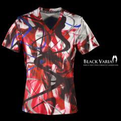 Tシャツ 半袖 モダン柄 派手 ムラ 総柄 Vネック メンズ 半袖Tシャツ(レッド赤) bv11