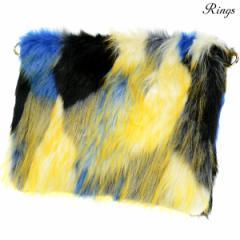 クラッチバッグ バック ファー B5 bag メンズ ミックスカラー ショルダー 2way マルチカラー 鞄(ブルー青イエロー黄) 157910