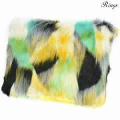 クラッチバッグ バック ファー B5 bag メンズ ミックスカラー ショルダー 2way マルチカラー 鞄(グリーン緑イエロー黄) 157910