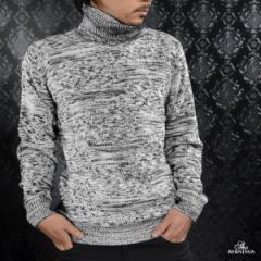 タートル ニット セーター 幾何学柄 メンズ 長袖 ジャガード タートルネック(グレー灰ホワイト白ブラック黒) 462333