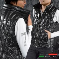 VIOLA rumore ヴィオラルモア ダウンベスト ダイヤキルト メンズ ハイネック フェザー フルジップアップベスト(ブラック黒) 81106